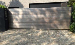 Houten poorten - Forest Latem Stalen kader met horizontale opleg enkelzijdig/dubbelzijdig met Ceder/Afrormosia/Padouk