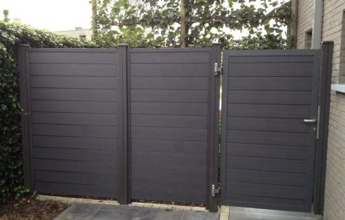 Houtcomposiet Stalen kader met verticale/horizontale houtcomposiet planchetten 150*17mm met tand en groef