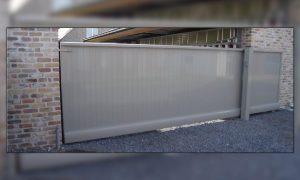 Enigma Aluminium geëxtrudeerde kader met verticale aluminium planchetten 130x16mm met tand en groef