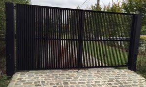 Grembergen Aluminium kader met verticaal/horizontaal opgelast plat alu 80*5mm onder 45°