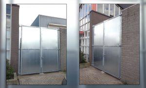 Maatwerk poort 3 m. hoog 2 m. breed met overklimbeveiliging